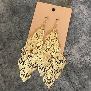 Gold Plated Long Dangle Earrings